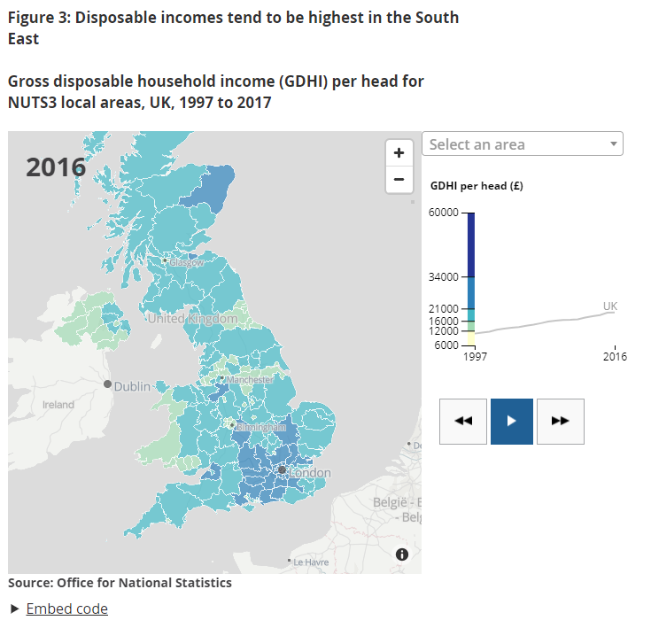 An interactive data visualisation map showing that disposable incomes tend to be highest in the South East between 1997 and 2017.