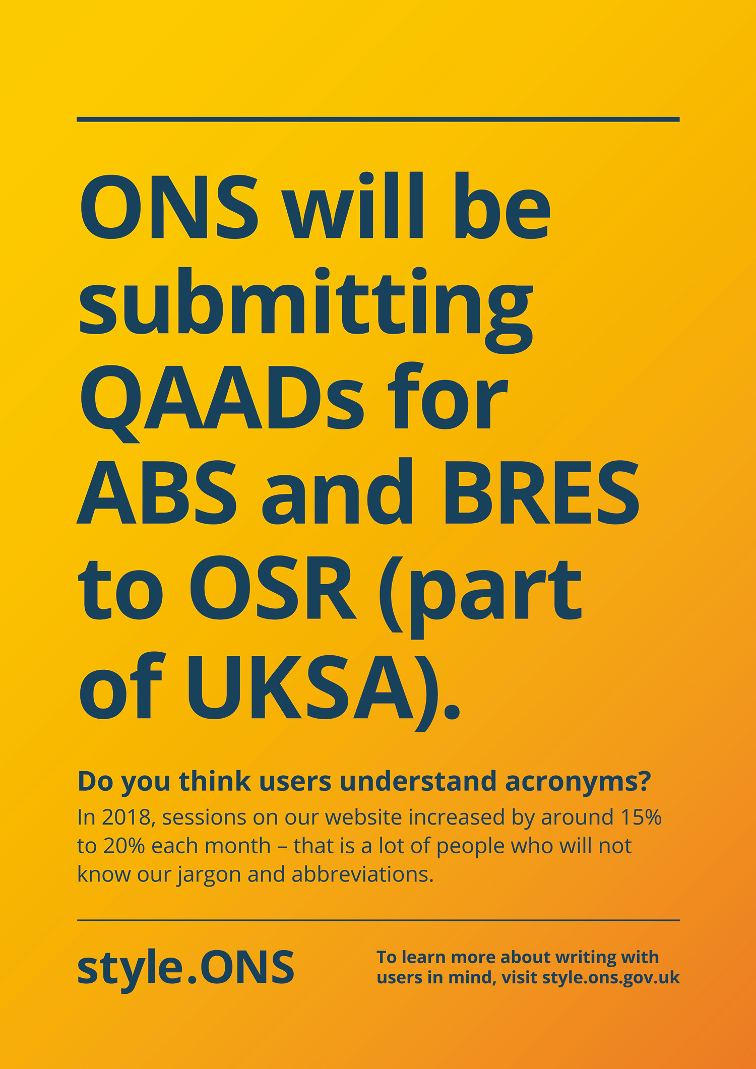 Avoid using acronyms Style.ONS poster