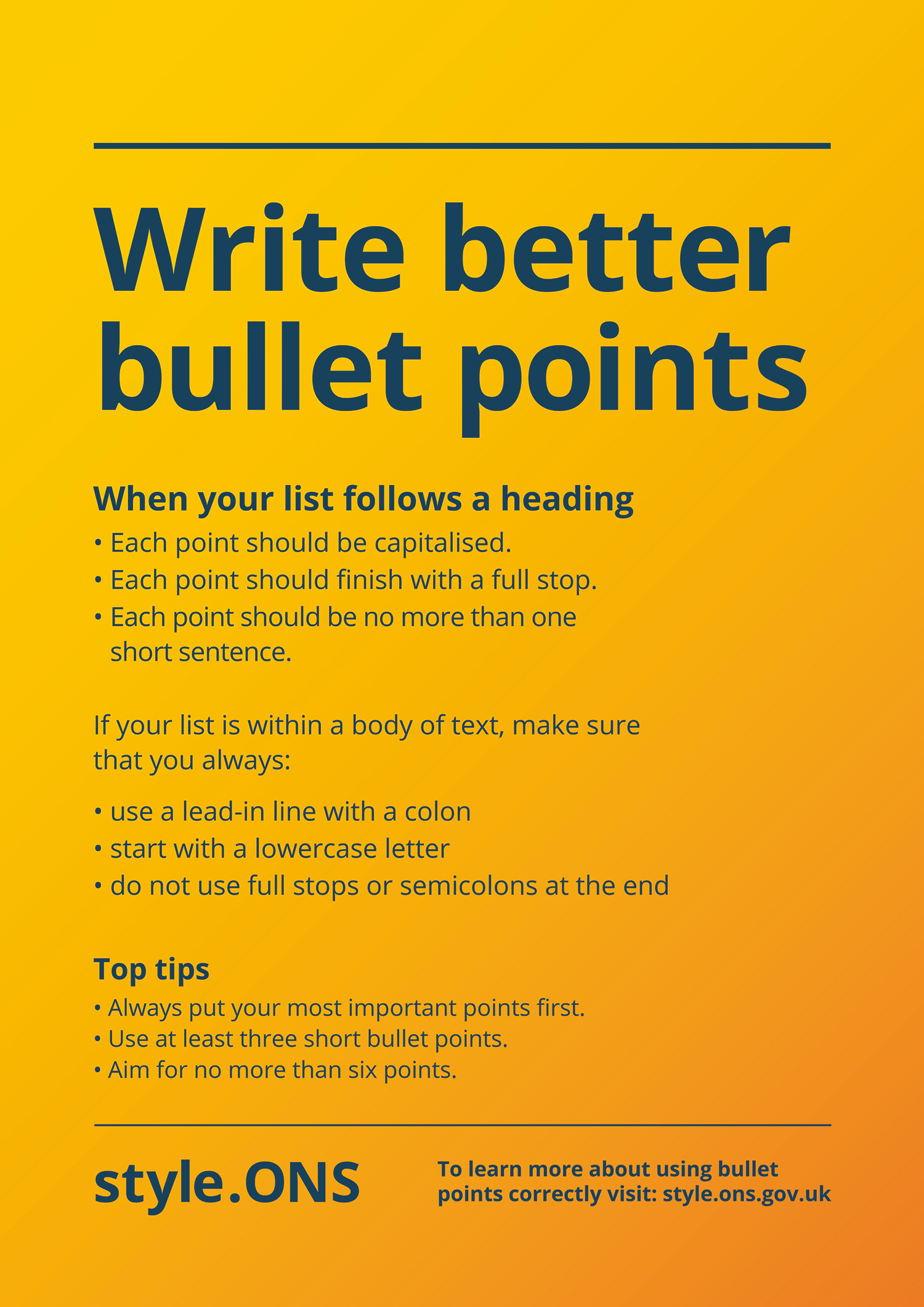 How to write better bullet points using ONS house style.