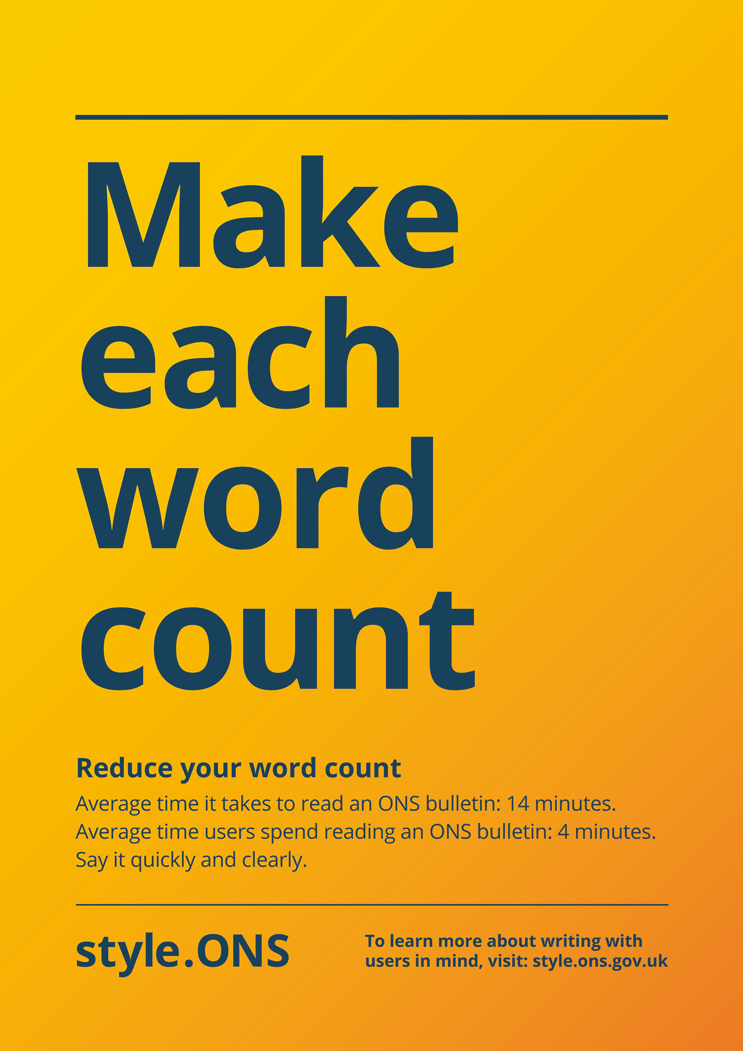 Make each word count Style.ONS campaign poster focusing on reducing your word count.