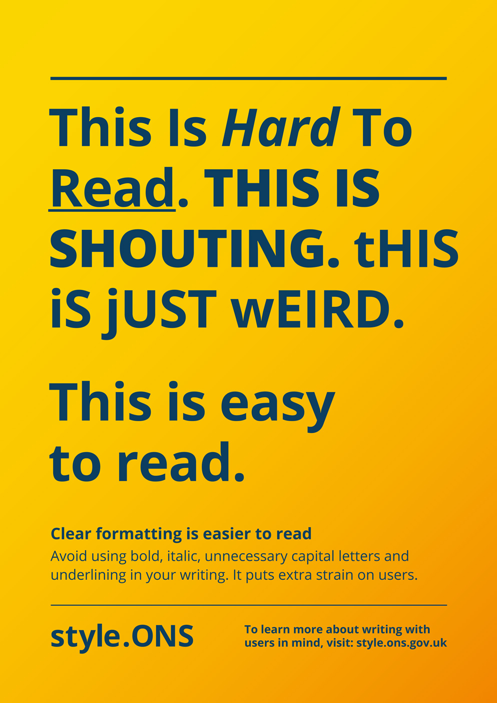 Clear formatting poster for Style.ONS campaign