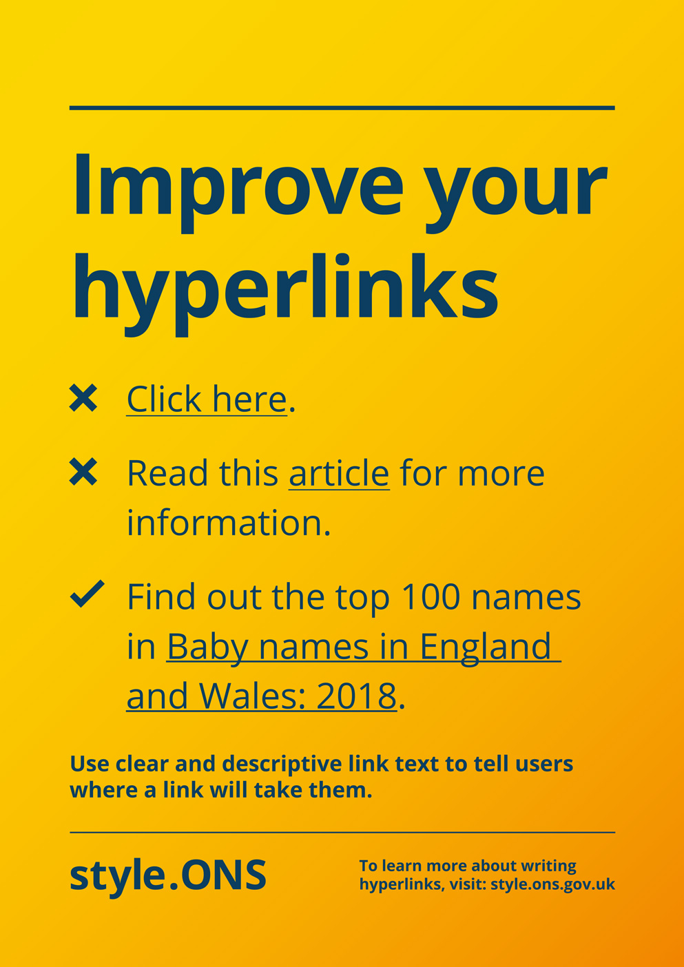 Style.ONS poster on improving hyperlink text